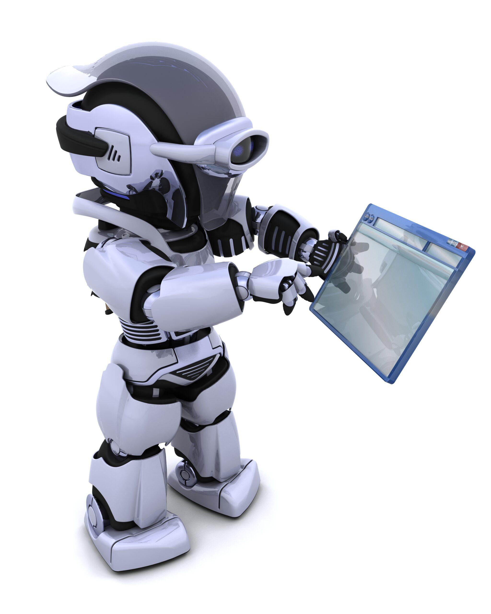 3D render of robot navigating through computer window